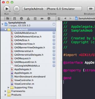 iOS SDK 6.0、Xcode4.5.2の環境でAdmob(AdMob Ads SDK 6.2.1)を表示する方法 AdmobSDKをプロジェクトに追加